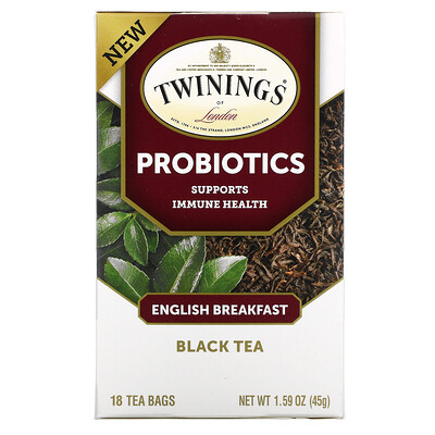 Twinings Probiotics Black Tea, English Breakfast, 18 Tea Bags, 1.59 oz (45 g)