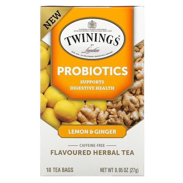 Probiotics Flavoured Herbal Tea, Lemon & Ginger, Caffeine-Free, 18 Tea Bags, 0.95 oz (27 g)