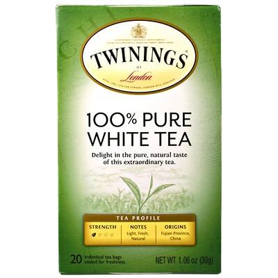 100% чистый белый чай, 20 чайных пакетиков по 1,06 унции (30 г) nustevia белый порошок стевии 100 пакетиков 100 г 3 5 унции