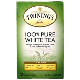 Twinings, 100% Pure White Tea, 20 Tea Bags, 1.06 oz (30 g) Each