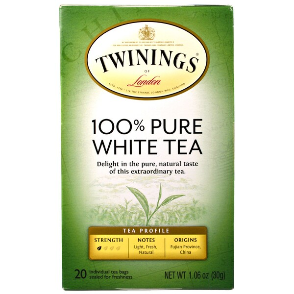 100% Pure White Tea, 20 Tea Bags, 1.06 oz (30 g) Each