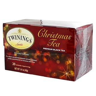 Twinings, Christmas Tea, Premium Black Tea, 20 Tea Bags, 1.41 oz (40 g)