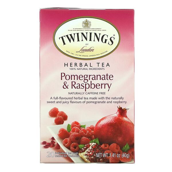 Herbal Tea, Pomegranate & Raspberry, Caffeine Free, 20 Tea Bags, 1.41 oz (40 g)