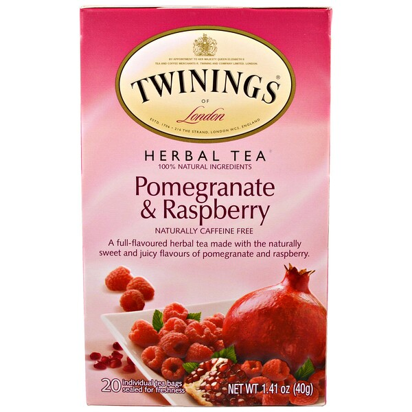 Herbal Tea, Pomegranate & Raspberry, Caffeine Free, 20 Tea Bags, 1.41 oz (40 g)