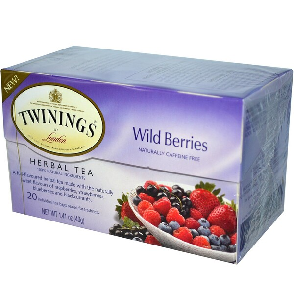 Herbal Tea, Wild Berries, Caffeine Free, 20 Tea Bags, 1.41 oz (40 g)