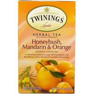 Twinings, Herbal Tea, Honeybush, Mandarin & Orange, Caffeine Free, 20 Individual Tea Bags, 1.41 oz (40 g)