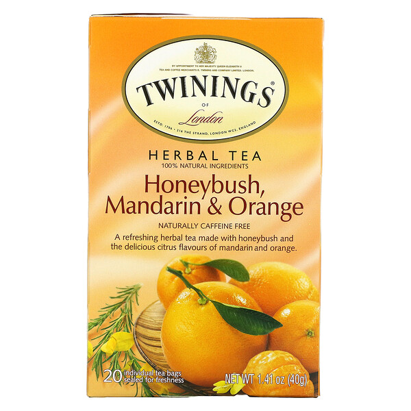 Twinings, Herbal Tea, Honeybush, Mandarin & Orange, Caffeine Free, 20 Tea Bags, 1.41 oz (40 g)