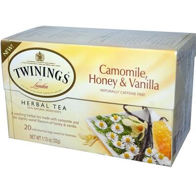 Купить Растительный чай с ромашкой, медом и ванилью, Не содержит кофеина, 20 пакетиков в индивидуальной упаковке, 1, 13 унций (32 г)