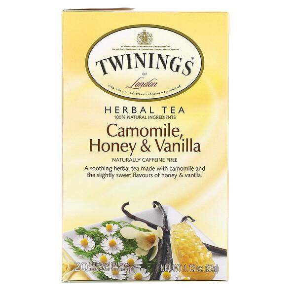 花草茶,甘菊,蜂蜜香草,天然不含咖啡萃取,20独立茶包,1.13盎司(32克)
