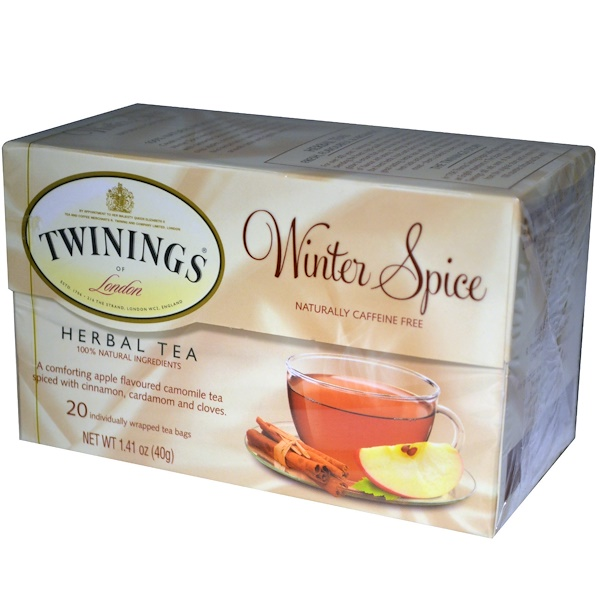 Twinings, Herbal Tea, Winter Spice, Caffeine Free, 20 Tea Bags, 1.41 oz (40 g)