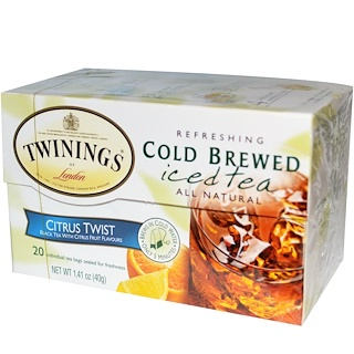 Twinings, Cold Brewed Iced Tea, Citrus Twist, 20 Tea Bags, 1.41 oz (40 g)