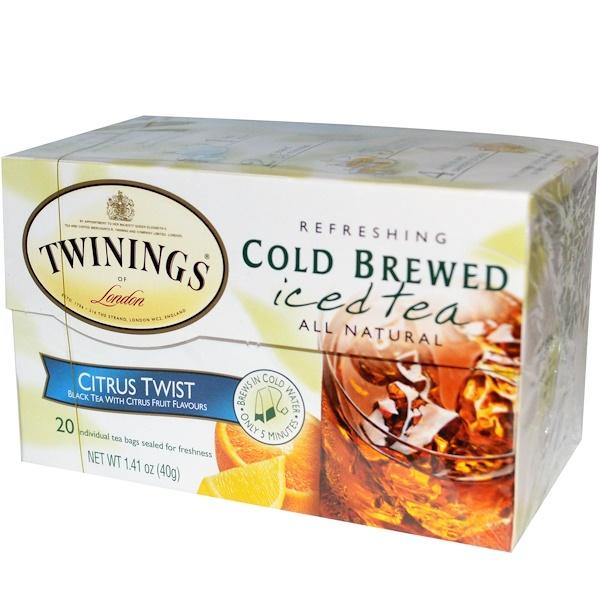 Twinings, Cold Brewed Iced Tea, Citrus Twist, 20 Tea Bags, 1.41 oz (40 g) (Discontinued Item)