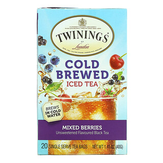 Twinings, Cold Brewed Iced Tea, Unsweetened Flavoured Black Tea, Mixed Berries, 20 Tea Bags, 1.41 oz (40 g)