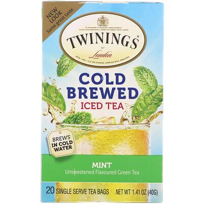 Купить Чай холодной заварки, зеленый чай с мятой, 20 пакетиков, 1, 41 унции (40 г)