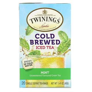 Twinings, شاي مثلج ومخمر على البارد،  شاي أخضر منكه غير محلى، النعناع، 20 كيس شاي فردي، 1.41 أونصة (40 جم)