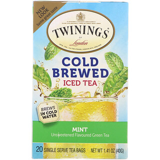 Twinings, 水出しアイスティー, 緑茶 ミント入り, ティーバッグ 20袋, 1.41 oz (40 g)