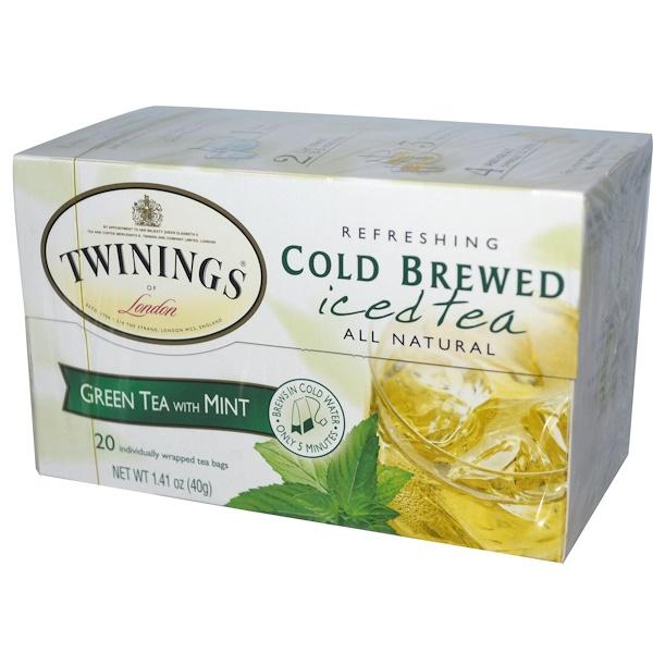 Twinings, Cold Brewed Iced Tea, Green Tea with Mint, 20 Tea Bags, 1.41 oz (40 g)
