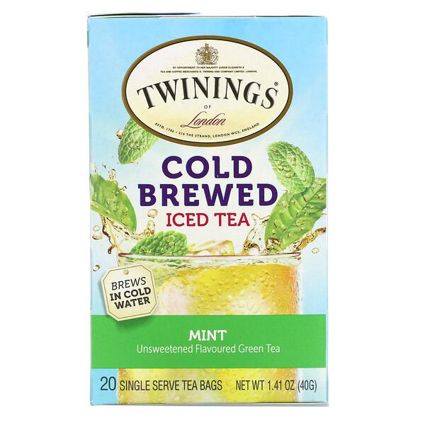 Thé glacé infusé à froid, Thé vert aromatisé non sucré, Menthe, 20sachets de thé en portions individuelles, 40g