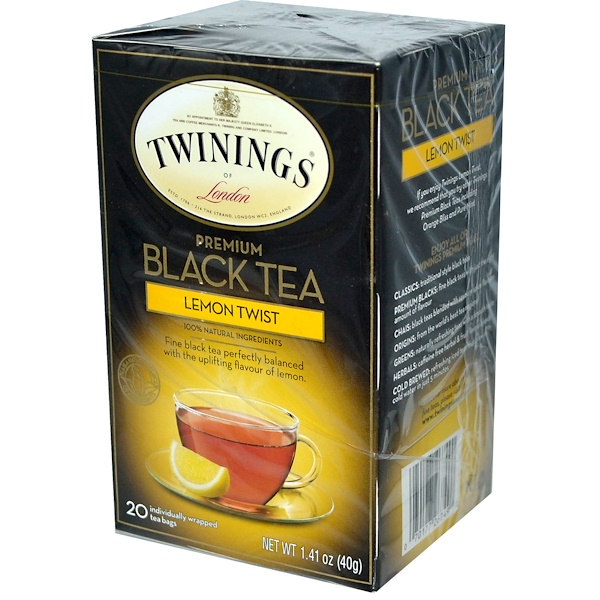 Twinings, Premium Black Tea, Lemon Twist, 20 Tea Bags, 1.41 oz (40 g)