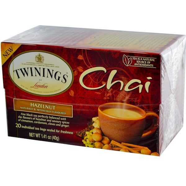 Twinings, Chai, Hazelnut, 20 Tea Bags, 1.41 oz (40 g) (Discontinued Item)
