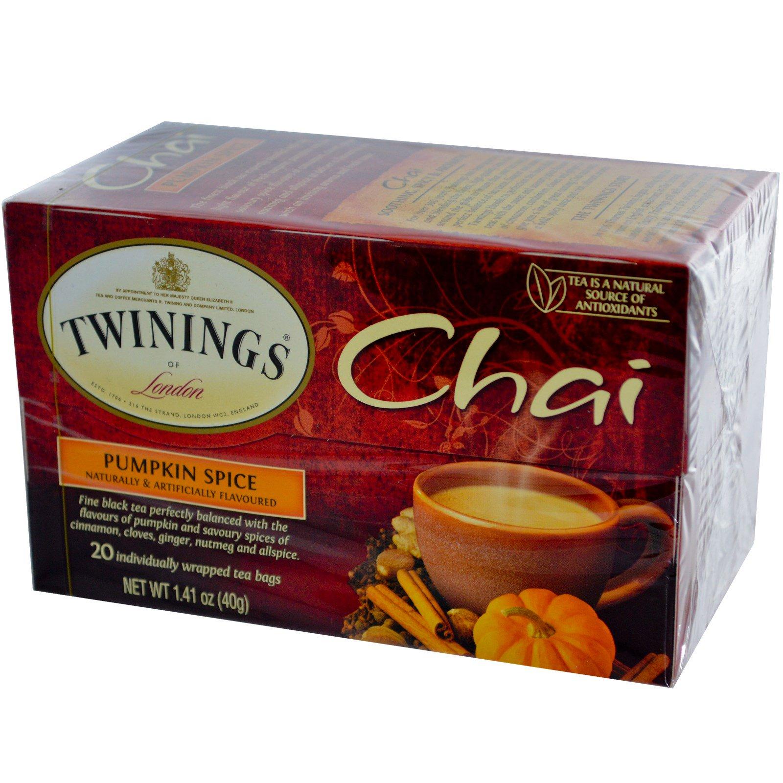 Twinings, Chai, Pumpkin Spice, 20 Tea Bags, 1.41 oz (40 g)