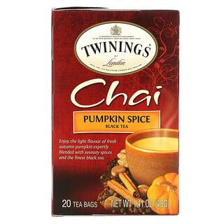 Twinings, Chai Black Tea, Pumpkin Spice, 20 Tea Bags, 1.41 oz (40 g)