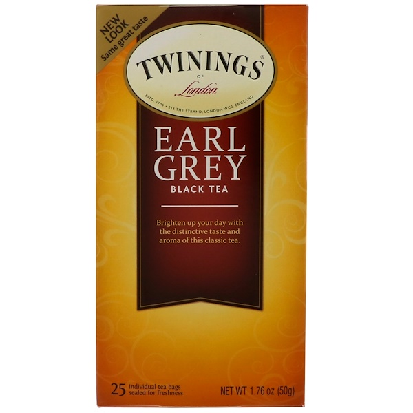 Twinings, Earl Grey Black Tea, 25 Tea Bags, 1.76 oz (50 g)