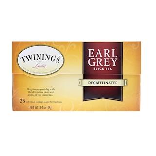 Twinings, アールグレイ、紅茶、カフェイン抜き、ティーバッグ25袋、1.54 oz (43 g)