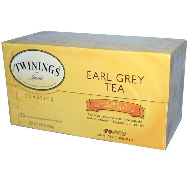 Twinings, Earl Grey, Black Tea, Decaffeinated, 25 Individual Tea Bags, 1.54 oz (43 g)