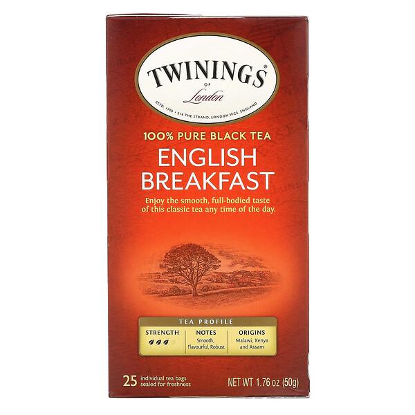 100% Pure Black Tea, English Breakfast, 25 Tea Bags, 1.76 oz (50 g)