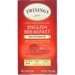 Twinings, 全純紅茶,英式早餐,無因,25 茶袋,1.76 盎司(50 克)