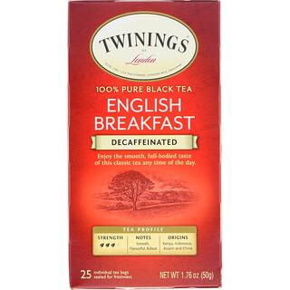 Twinings, 全纯红茶,英式早餐,无因,25 茶袋,1.76 盎司(50 克)