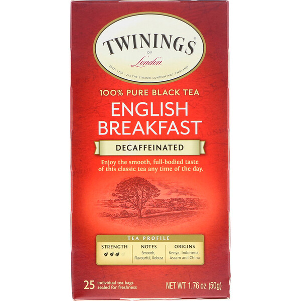 100% Pure Black Tea, English Breakfast, Decaffeinated, 25 Tea Bags, 1.76 oz (50 g)