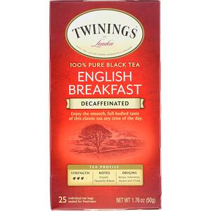 Твайнингс, 100% Pure Black Tea, English Breakfast, Decaffeinated, 25 Tea Bags, 1.76 oz (50 g) отзывы покупателей
