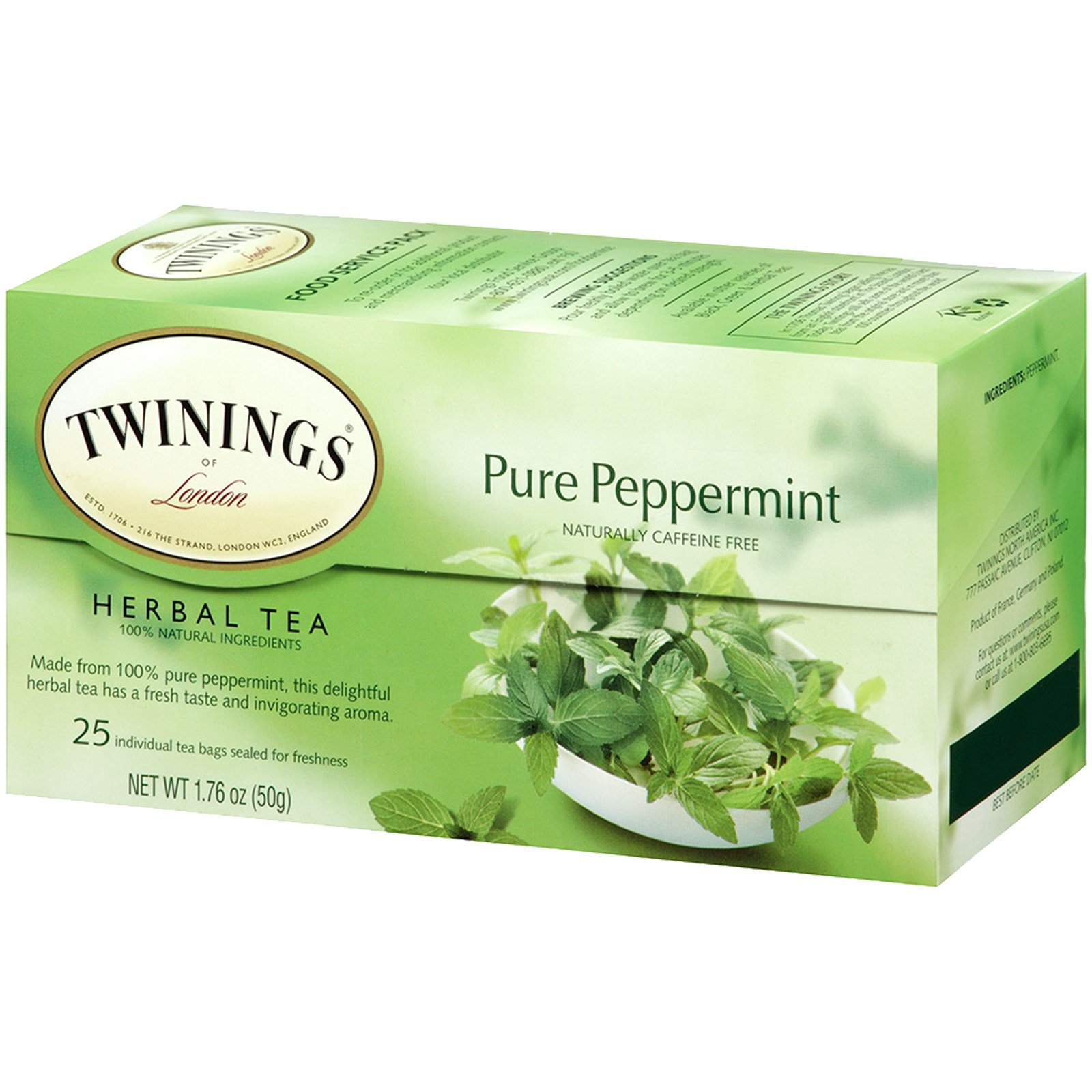 Twinings Herbal Tea Pure Peppermint Caffeine Free 25 Bags 1 76