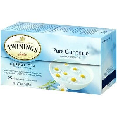 Ромашковый травяной чай, Без кофеина, 25 чайных пакетиков, 1,32 унции (37,5 г)