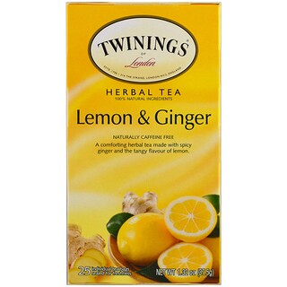 Twinings, Herbal Tea, Lemon & Ginger, Caffeine Free, 25 Tea Bags, 1.32 oz (37.5 g)