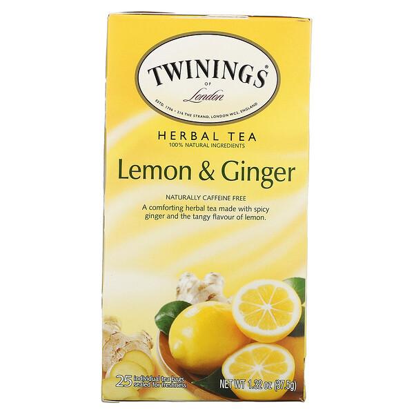 Herbal Tea, Lemon & Ginger, Caffeine Free, 25 Tea Bags, 1.32 oz (37.5 g)