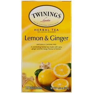 Твайнингс, Herbal Tea, Lemon & Ginger, Caffeine Free, 25 Tea Bags, 1.32 oz (37.5 g) отзывы покупателей