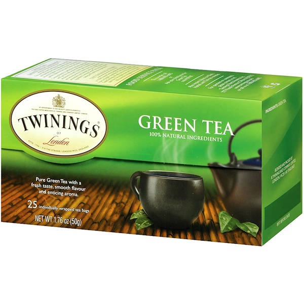Twinings, Green Tea, 25 Tea Bags, 1.76 oz (50 g) (Discontinued Item)