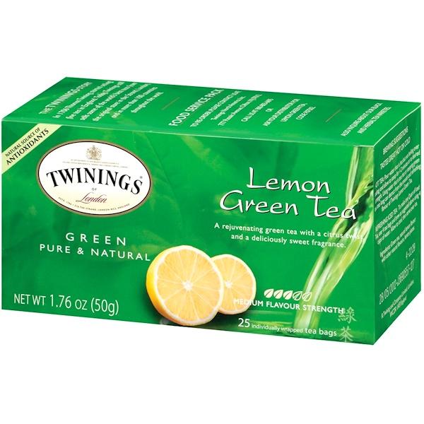 Twinings, Lemon Green Tea, 25 Tea Bags, 1.76 oz (50 g) (Discontinued Item)