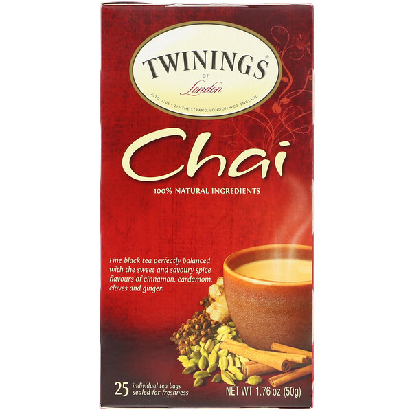 Chai Tea, 25 Tea Bags, 1.76 oz (50 g)