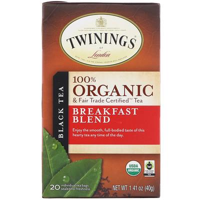 Купить 100% Органический Черный Чай, Купаж для Завтрака, 20 пакетиков, 1.41 унций (40 г)