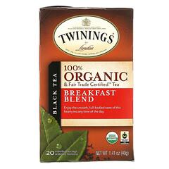 Twinings, 有機純紅茶,早餐特飲,20 茶包,1.41 盎司(40 克)。
