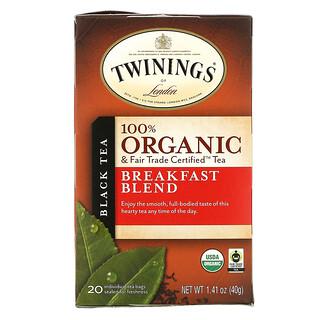 Twinings, 100% Органический Черный Чай, Купаж для Завтрака, 20 пакетиков, 1.41 унций (40 г)