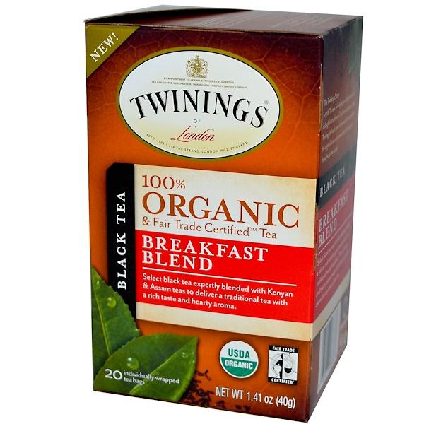 Twinings, 100% Organic Black Tea, Breakfast Blend, 20 Tea Bags, 1.41 oz (40 g)