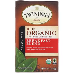 Твайнингс, 100% Organic Black Tea, Breakfast Blend, 20 Tea Bags, 1.41 oz (40 g) отзывы покупателей