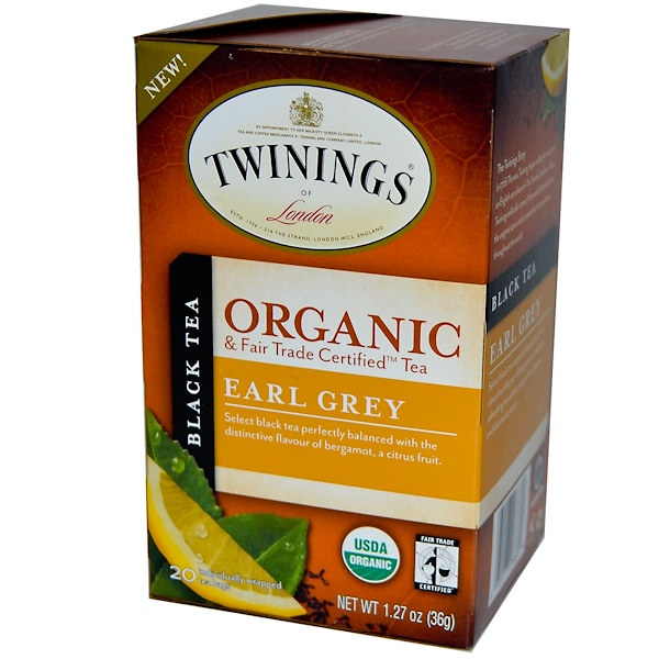 Twinings, Organic Black Tea, Earl Grey, 20 Tea Bags, 1.27 oz (36 g) (Discontinued Item)