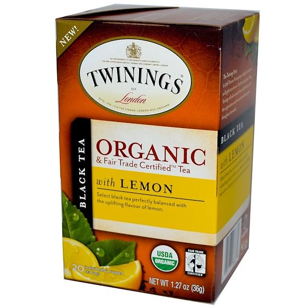 Twinings, Органический черный чай с лимоном 20 чайных пакетиков, 1.27 унции (36 г) (Discontinued Item)