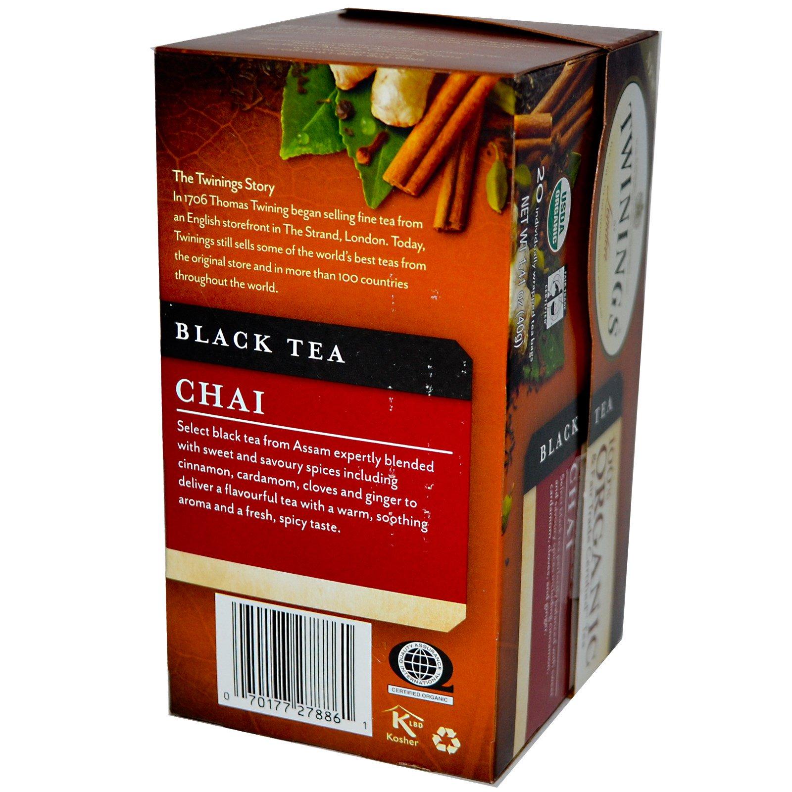 Twinings, 100% Organic Black Tea, Chai, 20 Tea Bags, 1.41 oz